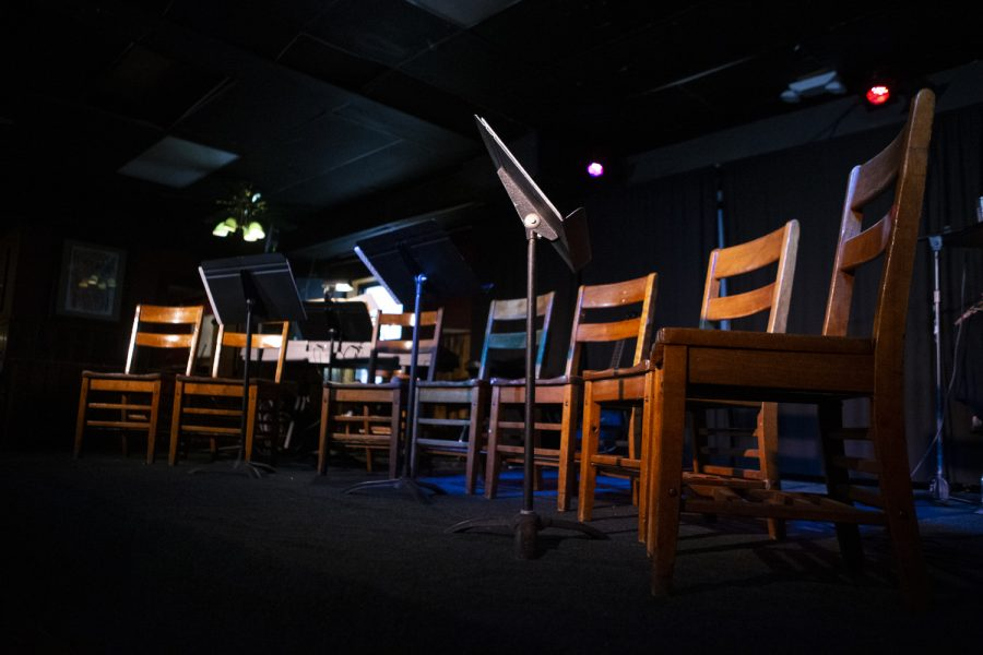 Chairs+are+set+up+on+stage+prior+to+QueertopIA+on+June+21%2C+2019+at+The+Mill.+The+event+was+held+for+the+first+time+in+Iowa+City.+