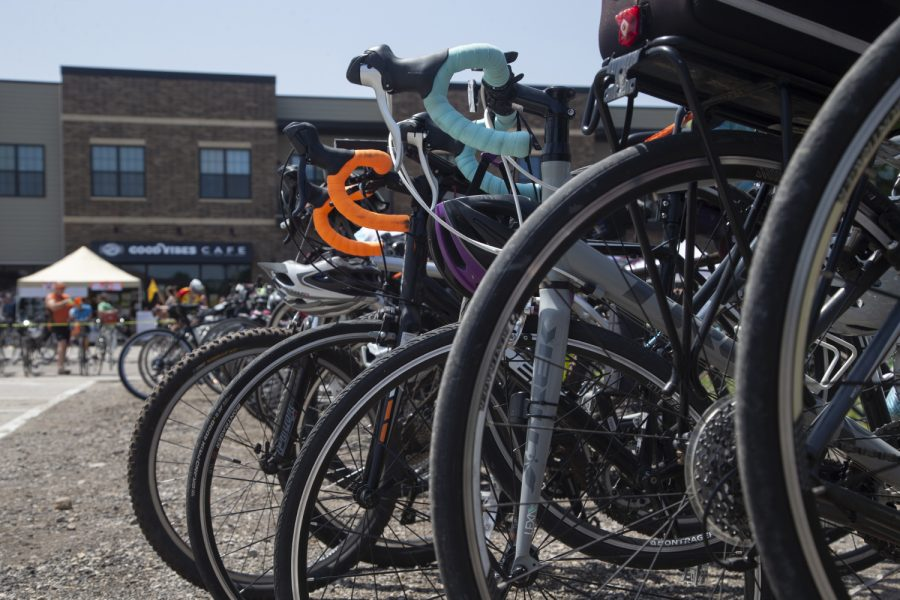Bicycles are seen in Solon during the Big Rove bicycle event on Saturday, June 29, 2019. The route, which is part of the RAGBRAI training series, was 36 miles long starting in Iowa City with stops in North Liberty and Solon.