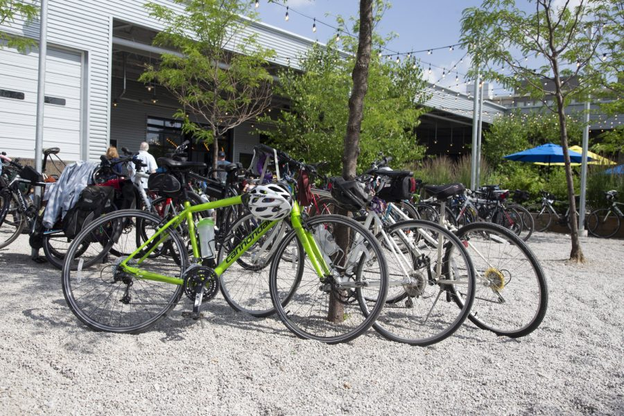Bicycles are seen parked at Big Grove during the Big Rove bicycle event on Saturday, June 29, 2019. The route, which is part of the RAGBRAI training series, was 36 miles long starting in Iowa City with stops in North Liberty and Solon.