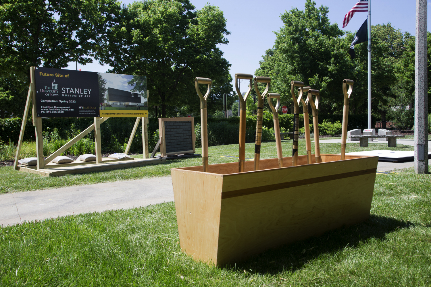 The shovels used for the at the Stanley Museum of Art ceremonial groundbreaking ceremony are seen on Friday, June 7, 2019. (Emily Wangen/The Daily Iowan)