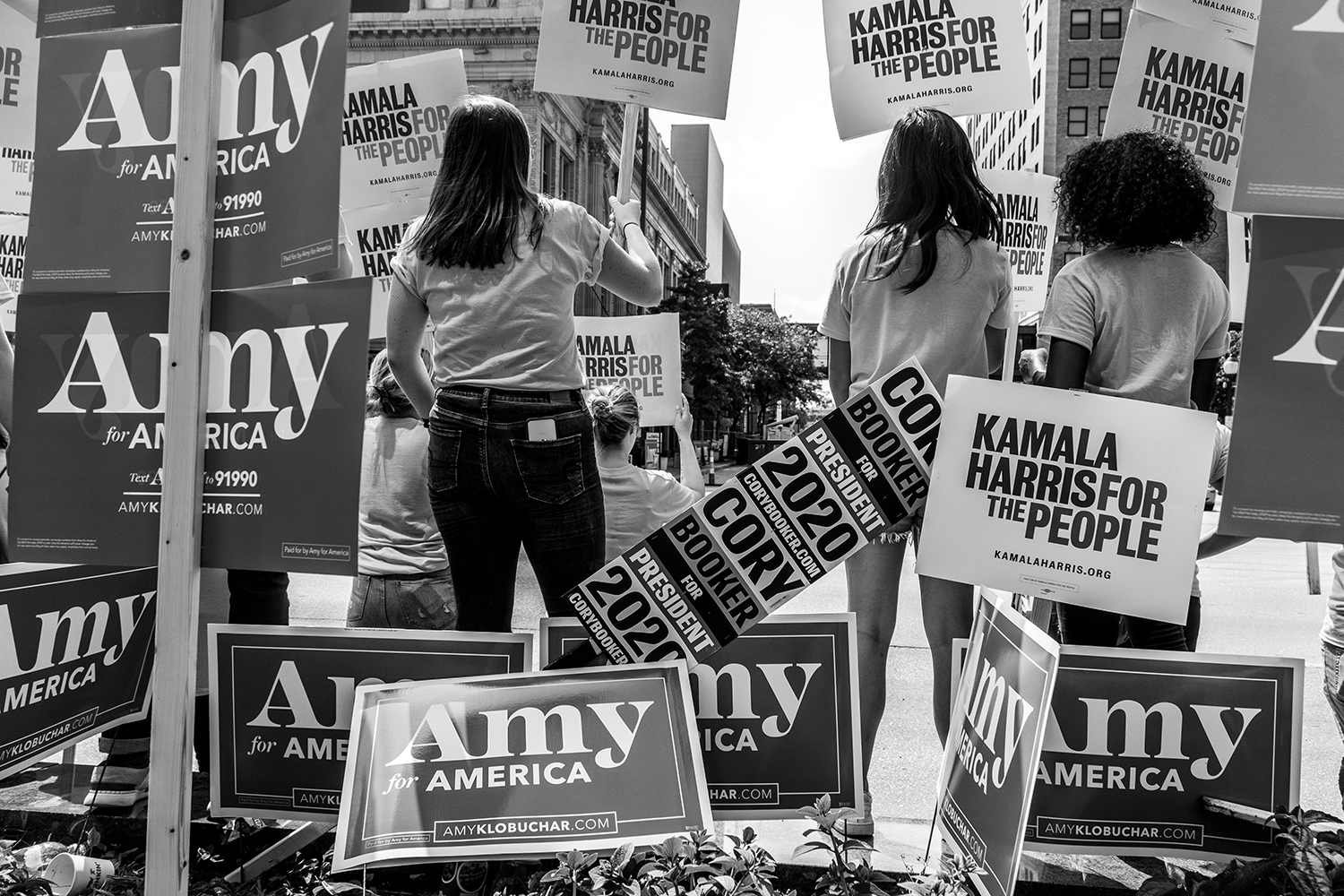 Supporters of Kamala Harris outside of the  Doubletree Hilton Hotel in Cedar Rapids on Sunday, June 9, 2019. 19 democrats spoke at the Iowa Democratic Party Hall of Fame.
