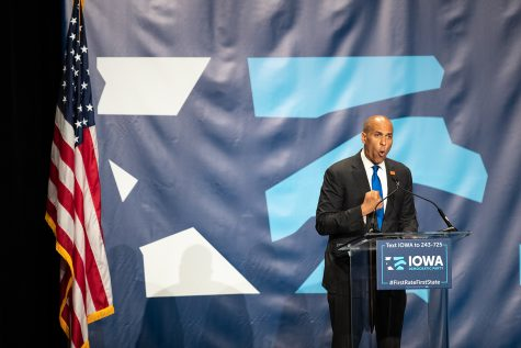 2020 Democratic Presidential candidate Cory Booker speaks at Doubletree Hilton Hotel in Cedar Rapids on Sunday, June 9, 2019. 19 democrats spoke at the Iowa Democratic Party Hall of Fame.