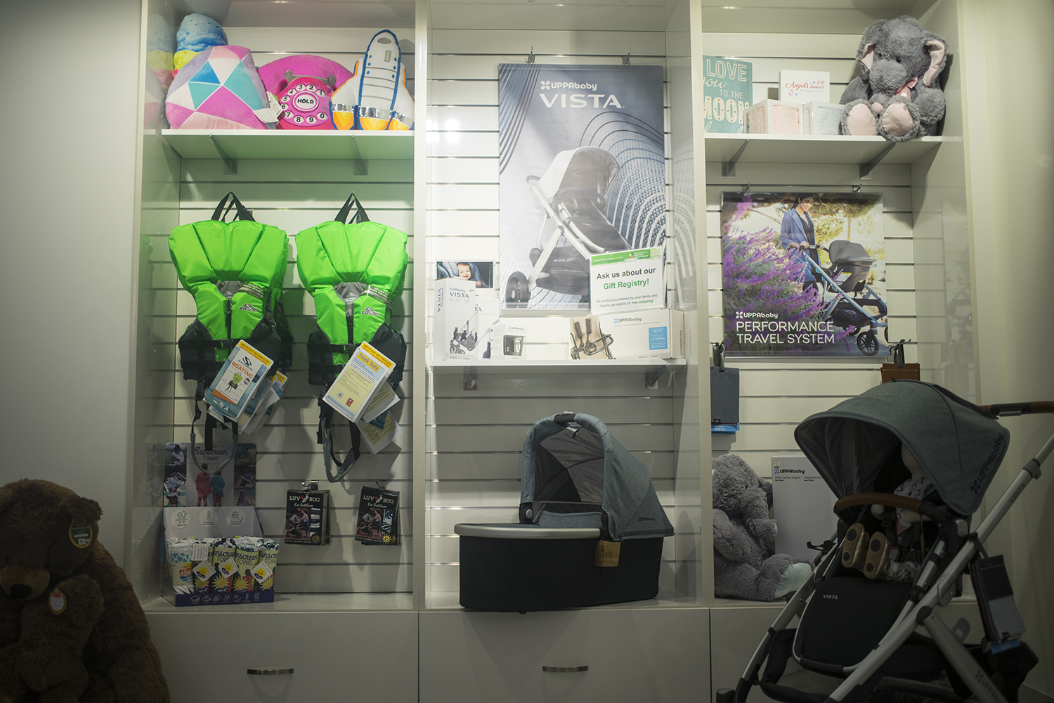 Safety equipment is displayed in the UIHC Safety Store inside of the Stead Family Children's Hospital on Friday, June 6, 2019(Michael Guhin/The Daily Iowan)