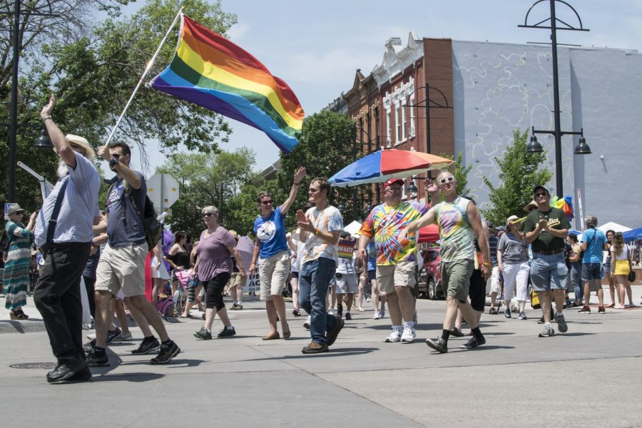 Iowa City residents celebrate pride week on Saturday, June 16, 2018.  (Thomas A. Stewart/The Daily Iowan)