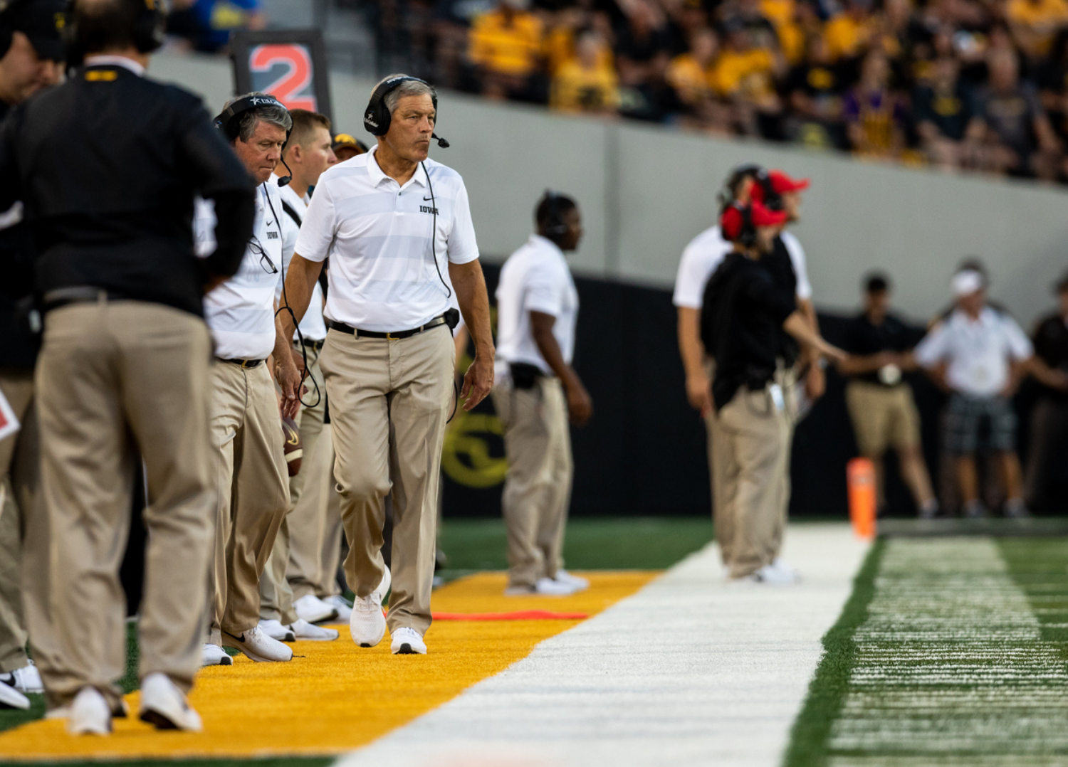 Iowa head coach Kirk Ferentz paces the sidelines during a game against Northern Iowa at Kinnick Stadium on Saturday, Sep. 15, 2018. The Hawkeyes defeated the Panthers 38–14. (David Harmantas/The Daily Iowan)