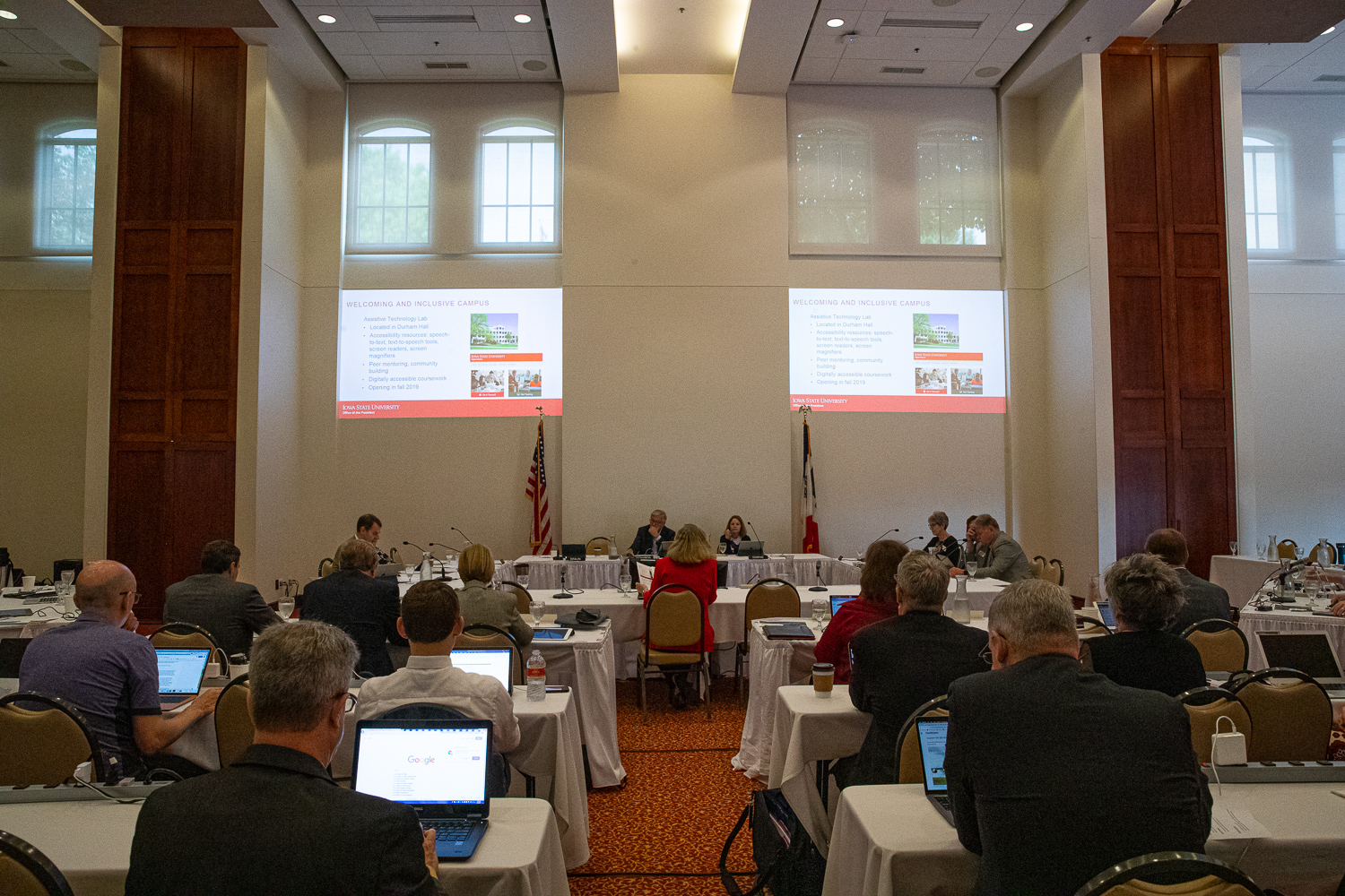 Iowa State University President Wendy Wintersteen gives a presentation to the Iowa Board of Regents during a meeting at the Iowa State Alumni Center in Ames, Iowa, on Thursday, June 6, 2019. (Wyatt Dlouhy/The Daily Iowan)