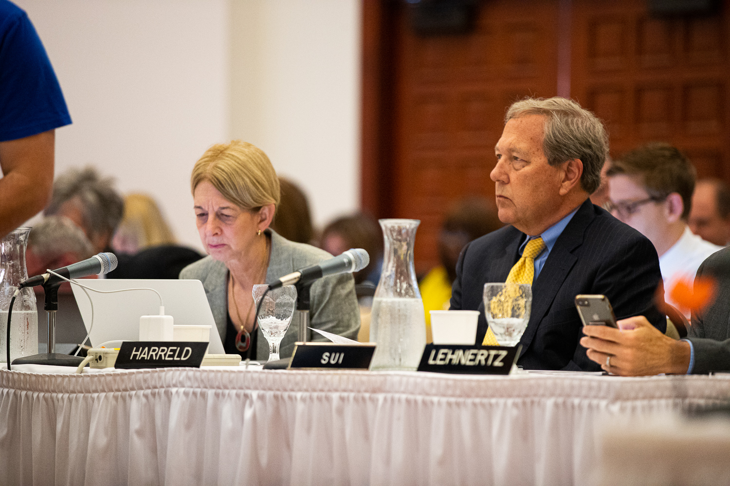 University of Iowa President Bruce Harreld and Interim Provost Sue Curry listen to a presentation during an Iowa Board of Regents meeting at the Iowa State Alumni Center in Ames, Iowa, on Thursday, June 6, 2019. The Regents voted in favor of a four percent tuition increase starting in the fall semester of 2019.