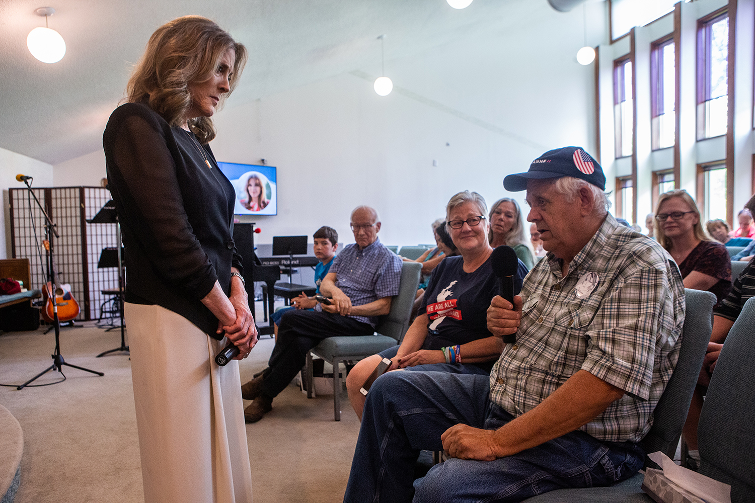 during a town hall event at the Unity Center in Cedar Rapids on Sunday, June 30, 2019. (Wyatt Dlouhy/The Daily Iowan)