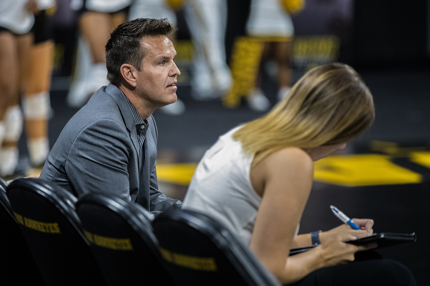 Iowa coach Bond Shymansky looks on during a volleyball match between Iowa and Michigan State on Friday, September 21, 2018. The Hawkeyes defeated the Spartans, 3 sets to 0. (Shivansh Ahuja/The Daily Iowan)