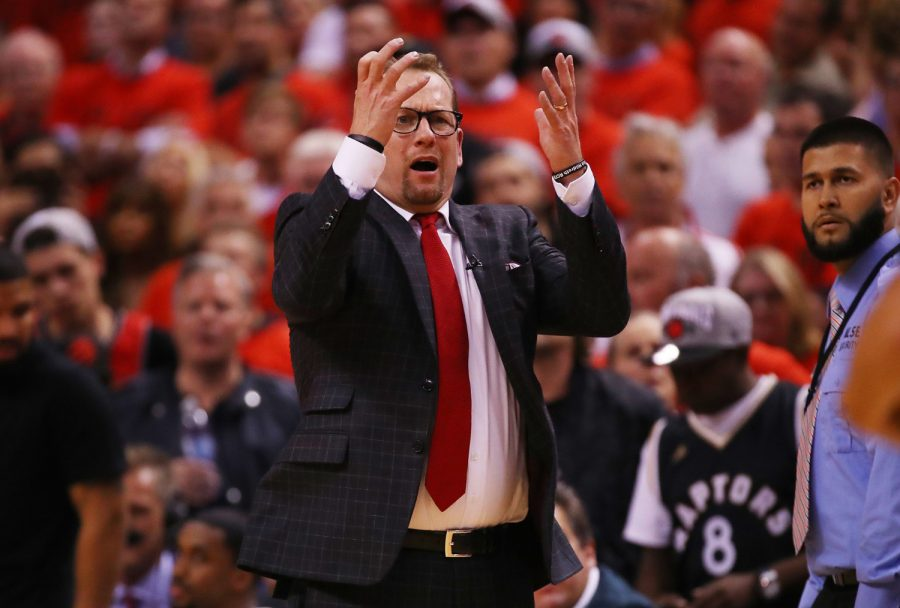 Head+coach+Nick+Nurse+of+the+Toronto+Raptors+reacts+in+the+fourth+quarter+against+the+Golden+State+Warriors+during+Game+Five+of+the+2019+NBA+Finals+at+Scotiabank+Arena+on+June+10%2C+2019+in+Toronto%2C+Canada.+%28Gregory+Shamus%2FGetty+Images%2FTNS%29