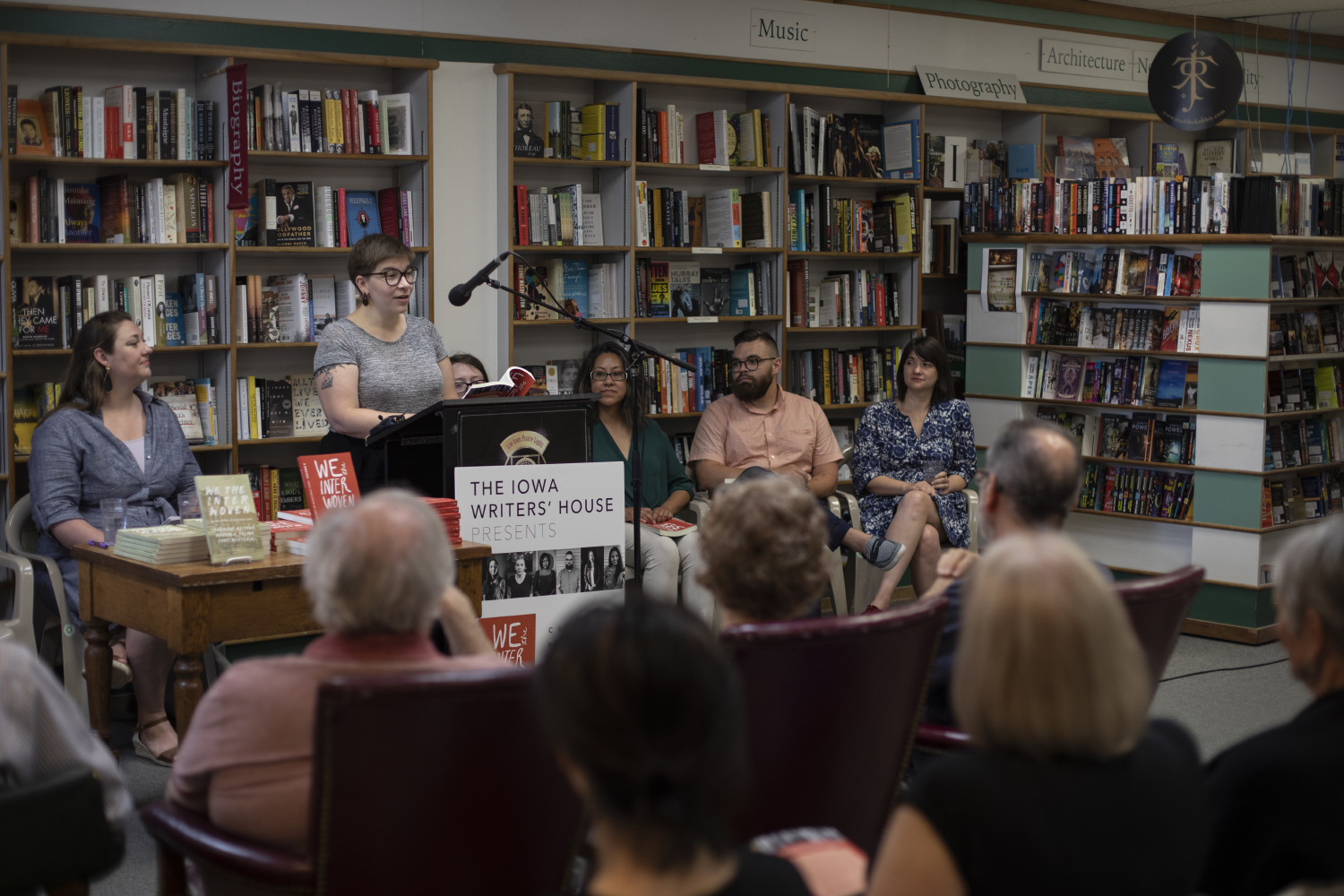 During Iowa Writers' House's launch at Prairie Lights on June 29, 2019. Sarah Elgatian, a writer read her work. (Tian Liu/The Daily Iowan)