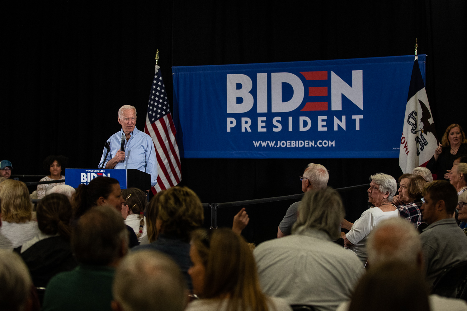 Former Vice President Joe Biden speaks to an audience at Clinton Community College in Clinton, Iowa on Wednesday, June 12, 2019. (Wyatt Dlouhy/The Daily Iowan)