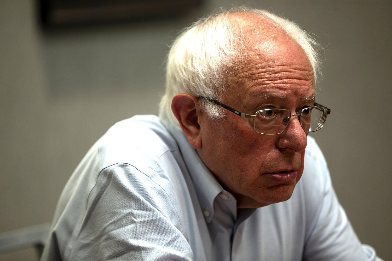 U.S. Sen. Bernie Sanders, I-Vermont gets interviewed in the Hyatt Hotel in Iowa City, Iowa on July 3, 2019.