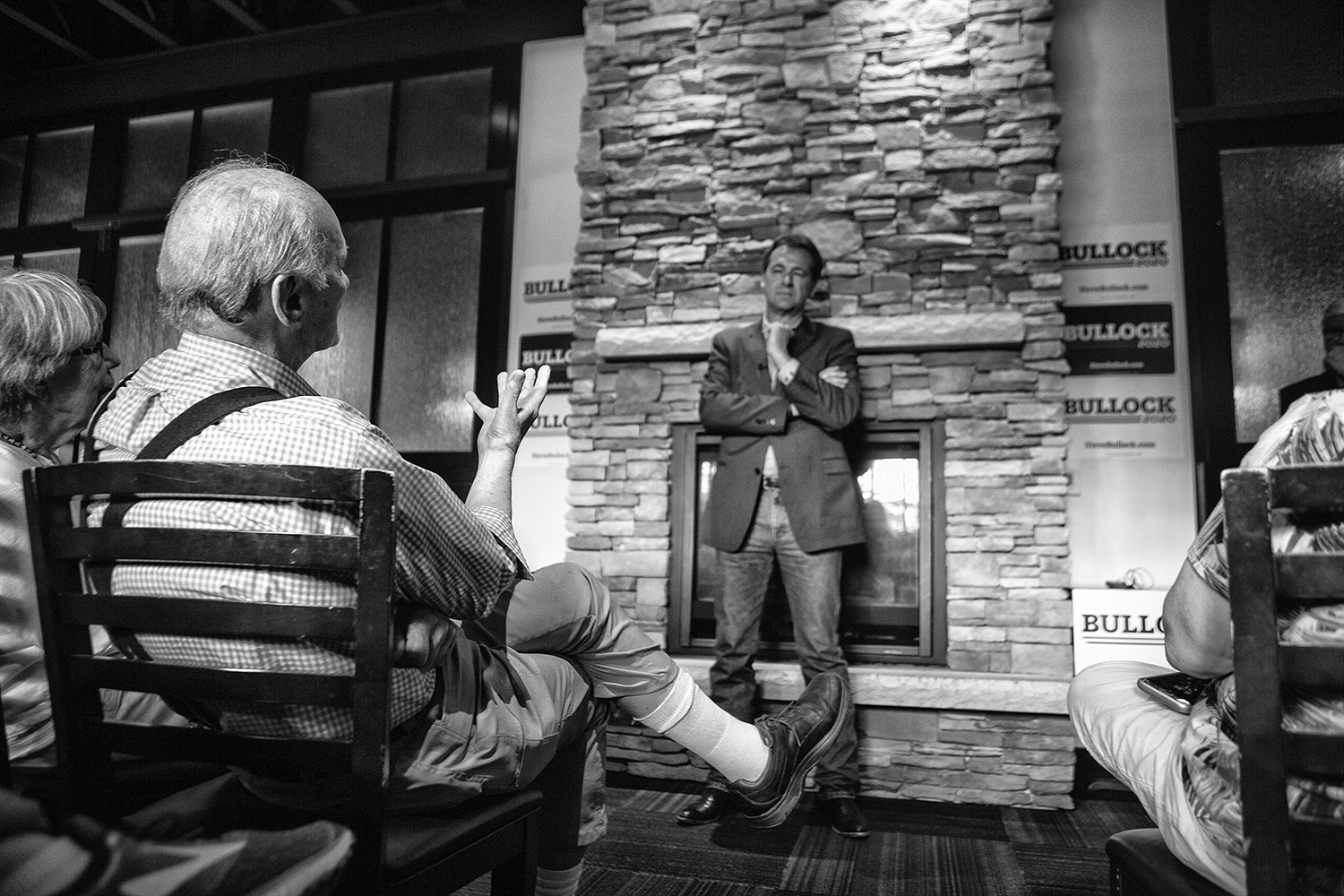 Governor+of+Montana+Steve+Bullock+addresses+supporters+during+his+meet+and+greet+in+Blackstone+on+July+10%2C+2019.+