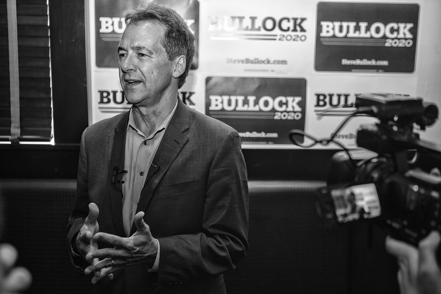 Governor+of+Montana+Steve+Bullock+addresses+members+of+the+press+during+his+meet+and+greet+in+Blackstone+on+July+10%2C+2019.+