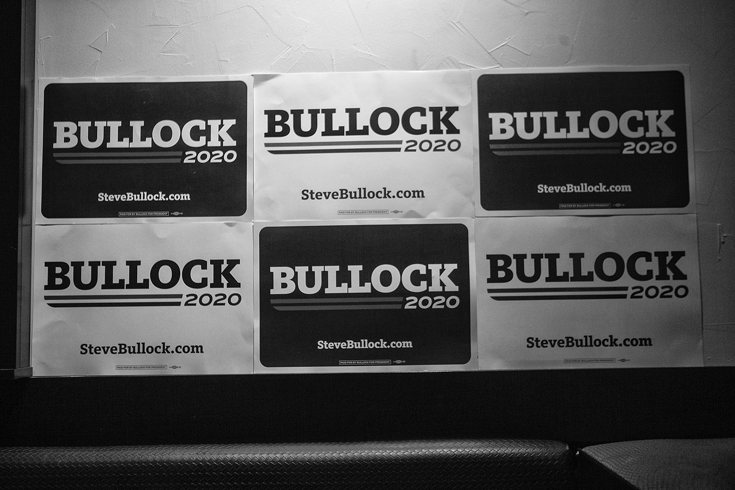 Signs+for+the+Governor+of+Montana+Steve+Bullock+hang+during+his+meet+and+greet+in+Blackstone+on+July+10%2C+2019.+