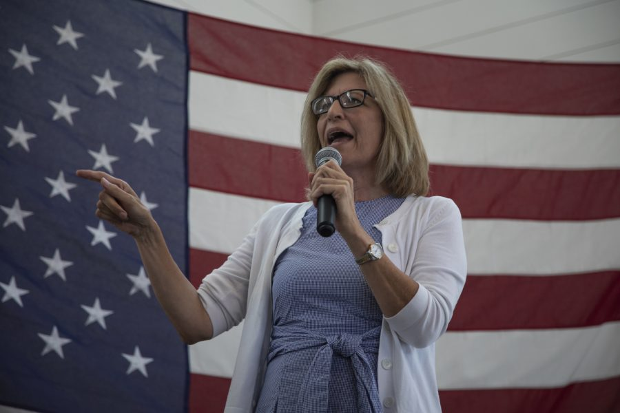 Democratic candidate Rita Hart speaks during a brunch fundraiser for Sen. Zach Wahls at the Walker Homestead on July 14, 2019.