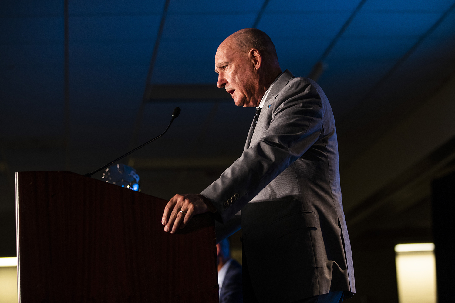 Big Ten Commissioner, Jim Delany, speaks during the Big Ten Football Media Day in Chicago, Ill., on Thursday, July 18, 2019.