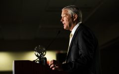 Iowa head coach Kirk Ferentz speaks during the second day of Big Ten Football Media Days in Chicago, Ill., on Friday, July 19, 2019.