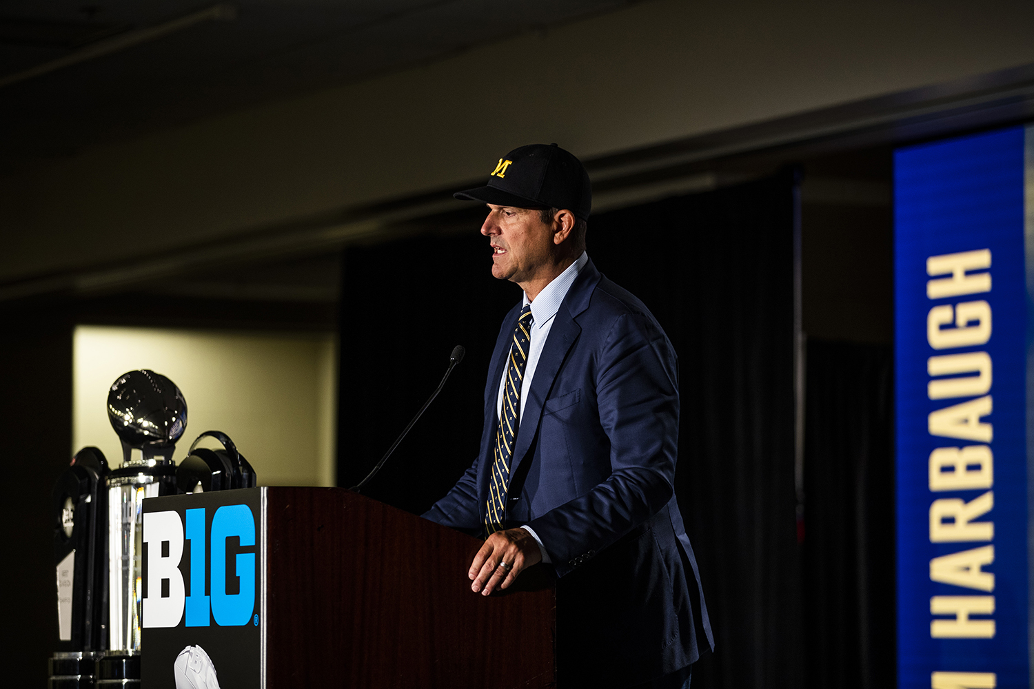 Michigan head coach Jim Harbaugh speaks during the second day of Big Ten Football Media Days in Chicago, Ill., on Friday, July 19, 2019.