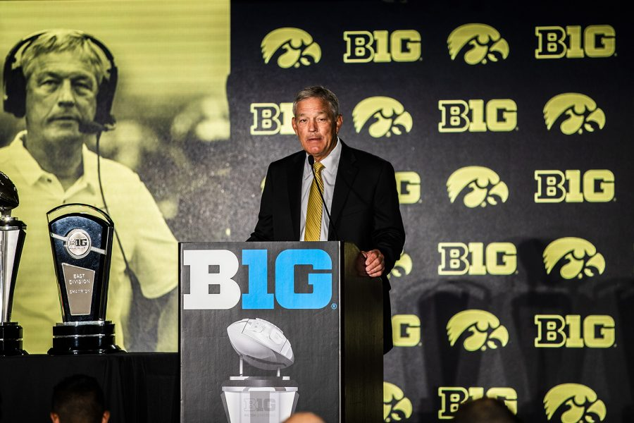 Iowa+head+coach+Kirk+Ferentz+speaks+during+the+second+day+of+Big+Ten+Football+Media+Days+in+Chicago%2C+Ill.%2C+on+Friday%2C+July+19%2C+2019.