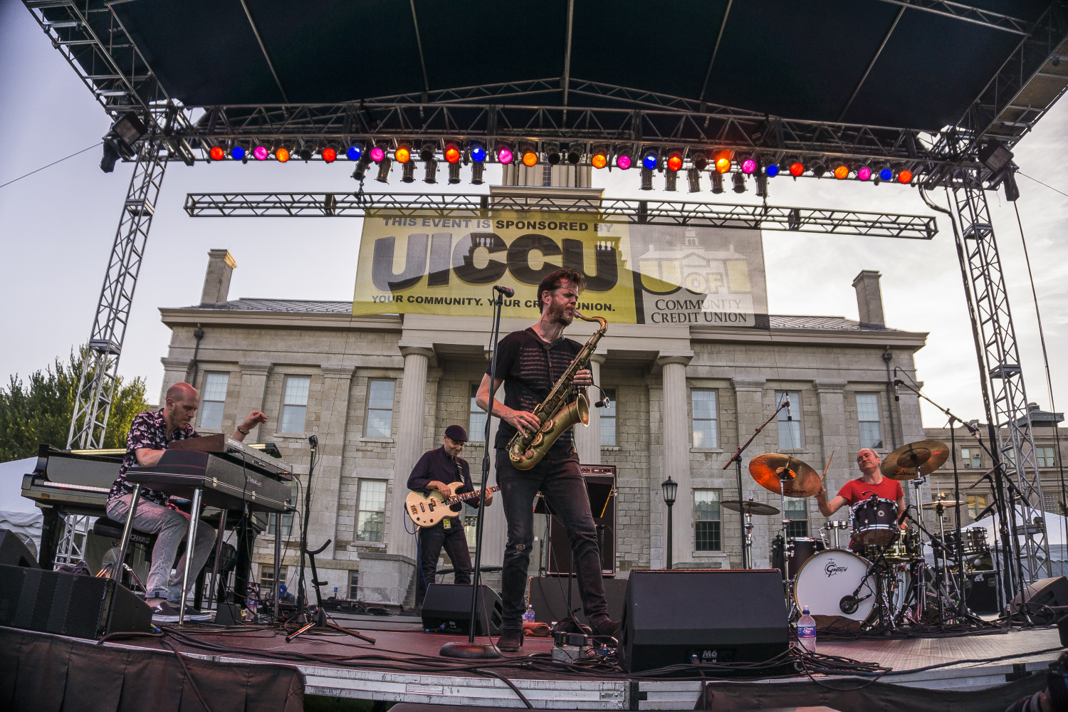 The Danny McCaslin Group performs on the main stage for the 2017 Jazz Fest on Sunday, July 2nd, 2017. Jazz Fest has been hosted by Summer of the Arts since 2005. (James Year/Daily Iowan)