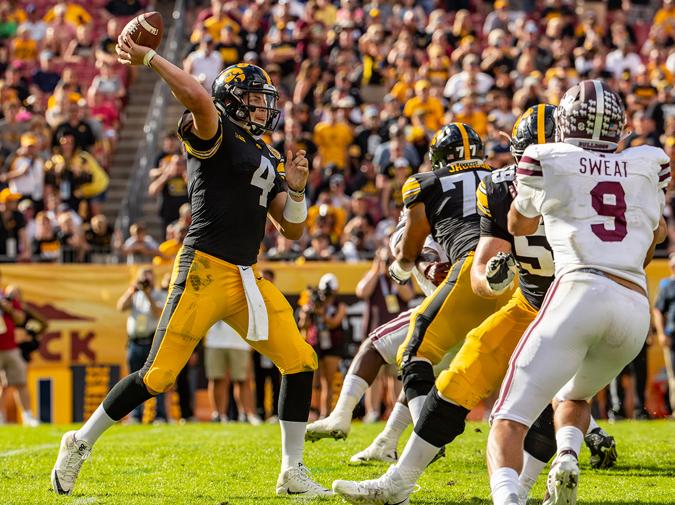 Iowa quarterback Nate Stanley throws a pass during the Outback Bowl game between Iowa and Mississippi State at Raymond James Stadium in Tampa, Florida on Tuesday, January 1, 2019. The Hawkeyes defeated the Bulldogs 27-22.