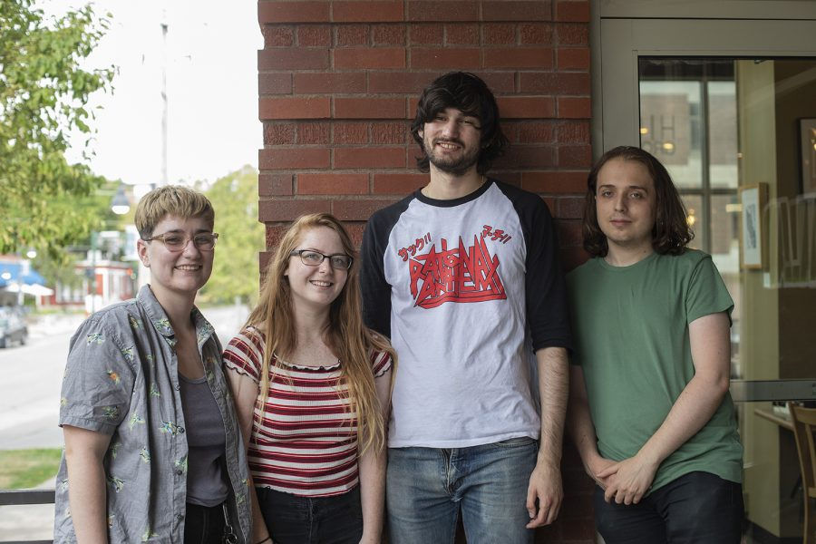 Members of Basketball Divorce Court pose for a portrait on July 25, 2019. Basketball Divorce Court is a local band from Iowa City that performs a range of genres including post-punk and emo. (Tian Liu/The Daily Iowan)