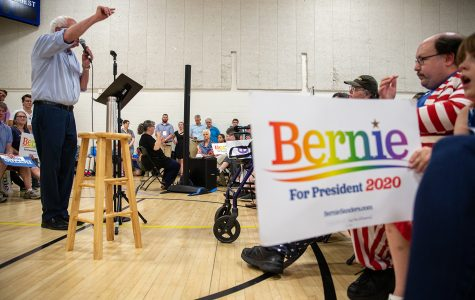 Bernie Sanders rallies at an Iowa City ice-cream social