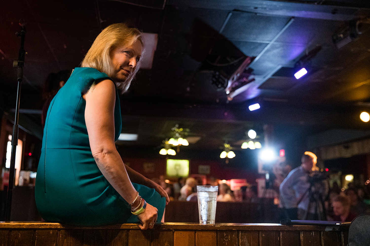 Sen. Kirsten Gillibrand, D-N.Y., listens to community members during a campaign event at The Mill in Iowa City on Thursday July 25, 2019. Sen. Gillibrand stopped in Iowa City as she campaigns for the Democratic Party's Nomination for the 2020 Presidential election.