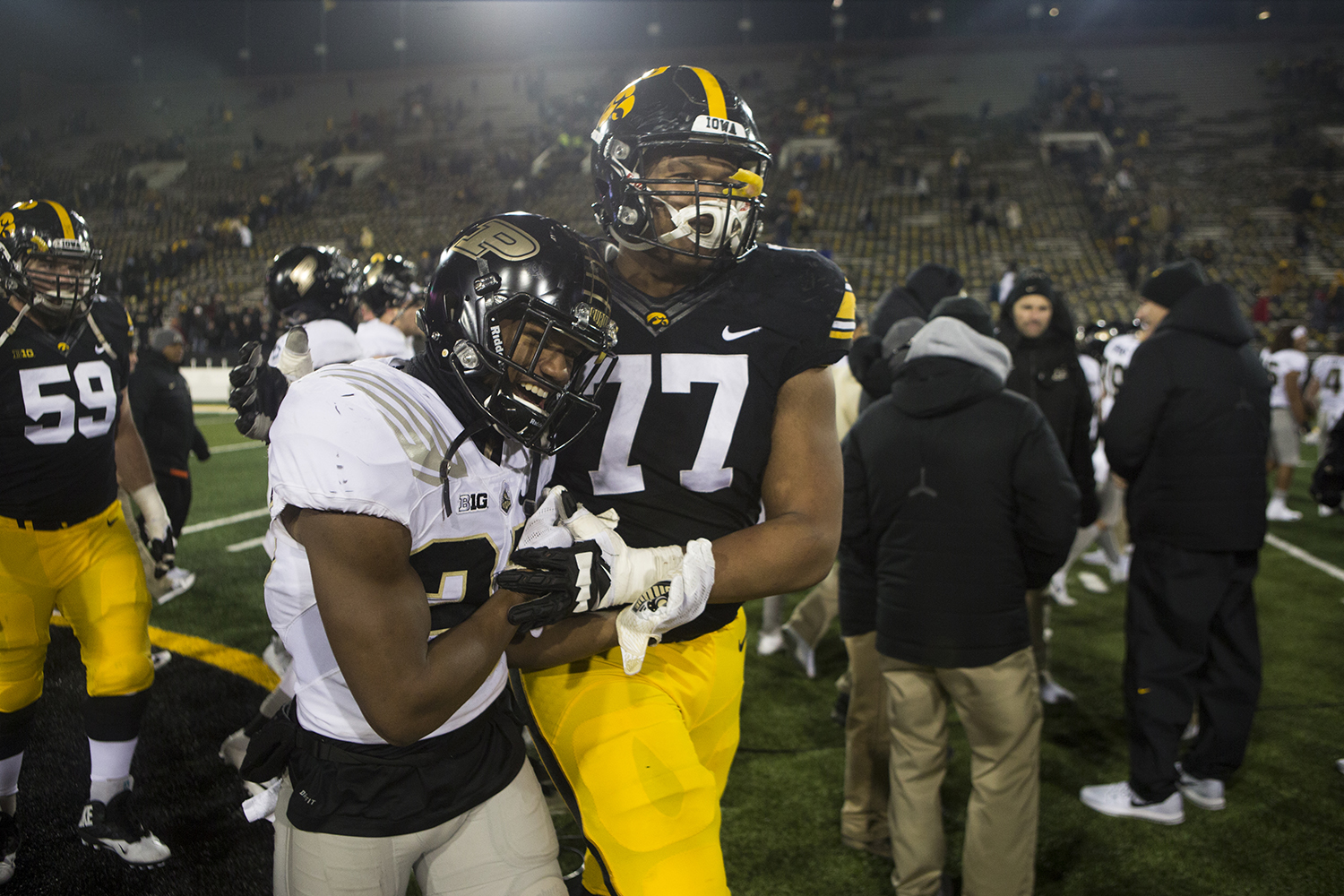 Iowa offensive linemen Alaric Jackson embraces Purdue safety Navon Mosley during the Iowa/Purdue football game in Kinnick Stadium on Saturday, Nov. 18, 2017. The Boilermakers defeated the Hawkeyes, 24-15. (Joseph Cress/The Daily Iowan)