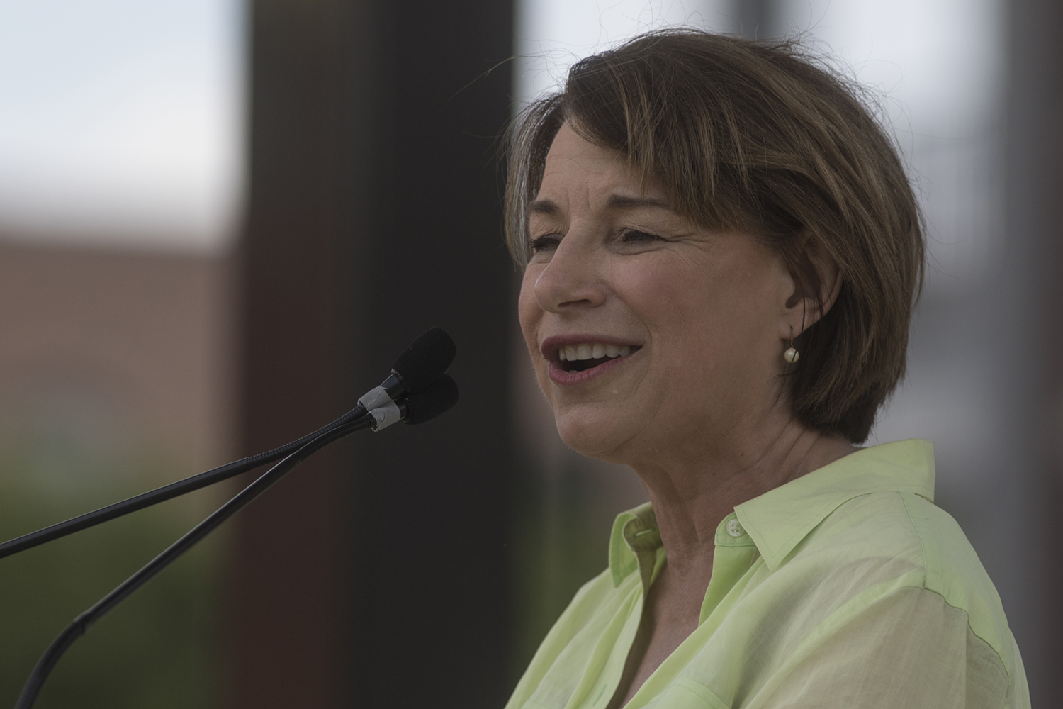 Senator Amy Klobuchar, D-MN, addresses crowds during Progress Iowa Corn Feed at The Newbo City Market in Cedar Rapids on July 14, 2019. 11 candidates came to speak with supporters and meet fans.