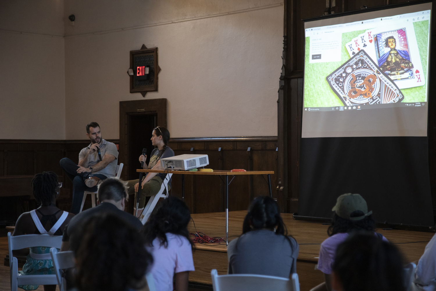 Sen. Zach Wahls and his sister Zebby Wahls speak about their playing cards, The Woman Cards, during a meeting with the Belin-Blank summer residency program at Old Brick on July 15, 2019. They spoke with students about the starting their own business.