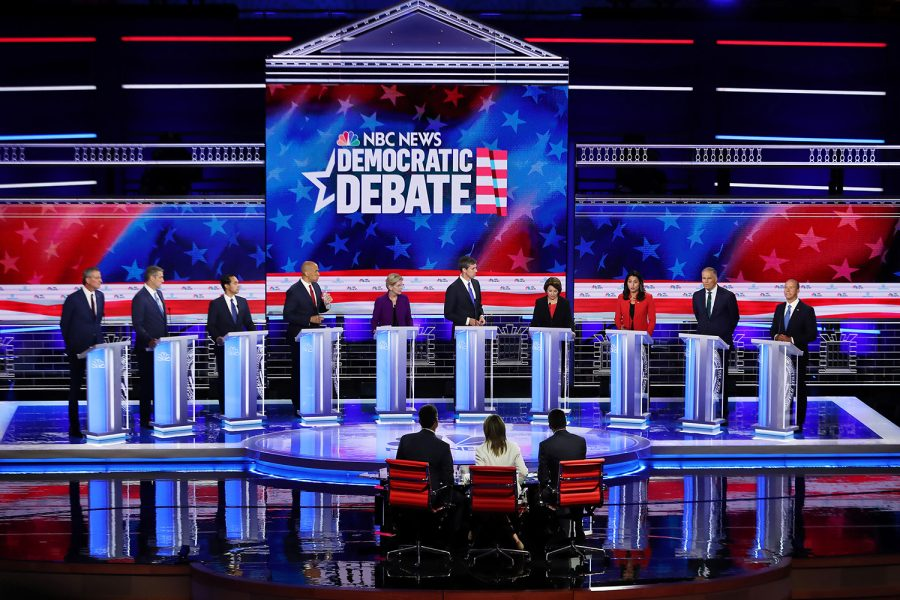 From left, Democratic presidential candidates New York City Mayor Bill De Blasio, Rep. Tim Ryan (D-Ohio), former housing secretary Julian Castro, Sen. Cory Booker (D-N.J.), Sen. Elizabeth Warren (D-Mass.), former Texas congressman Beto O'Rourke, Sen. Amy Klobuchar (D-Minn.), Rep. Tulsi Gabbard (D-Hawaii), Washington Gov. Jay Inslee, and former Maryland congressman John Delaney take part in the first night of the Democratic presidential debate on Wednesday, June 26, 2019, in Miami, Fla. (Joe Raedle/Getty Images/TNS)