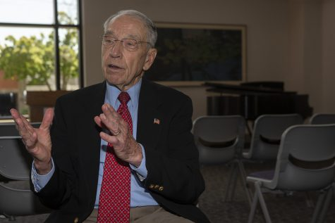 U.S Senator Chuck Grassley, R-Iowa, speaks with reporters during a press conference at Mercy Hospital on July 2, 2019. (Katie Goodale/The Daily Iowan)