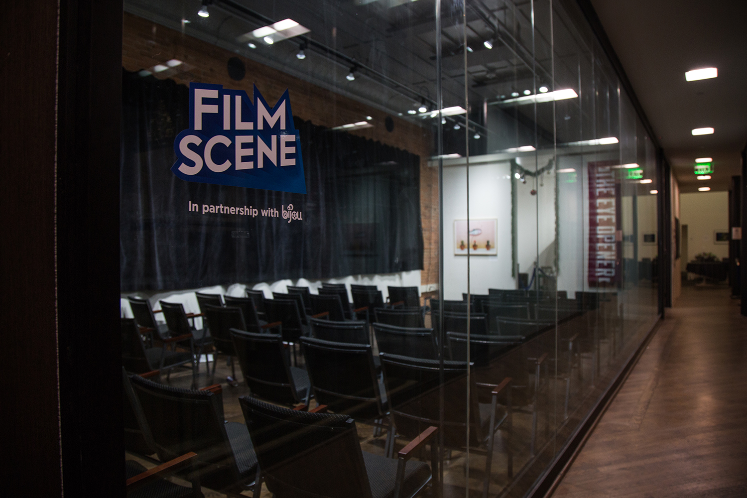 FilmScene's gallery is the proposed spot for an additional 40 seat theater due to delays of the Chauncey Tower development, FilmScene is located at 118 E College St in Iowa City, Iowa.