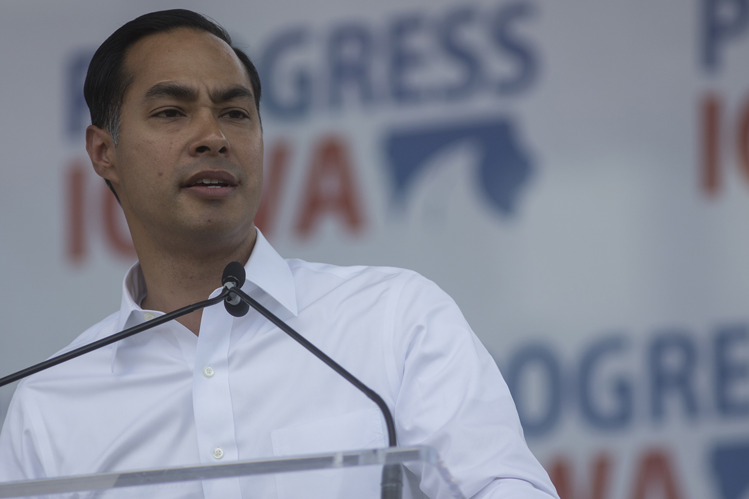 Former Secretary of Housing and Urban Development Julian Castro addresses crowds during Progress Iowa Corn Feed at The Newbo City Market in Cedar Rapids on July 14, 2019. 11 candidates came to speak with supporters and meet fans.