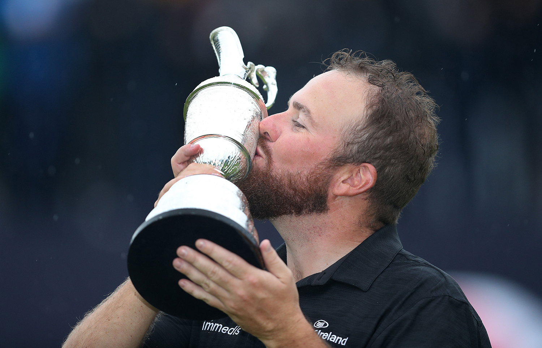 Ireland's Shane Lowry celebrates with the Claret Jug after winning The Open Championship 2019 at Royal Portrush Golf Club, on Sunday, July 21, 2019. (David Davies/PA Wire/Zuma Press/TNS)