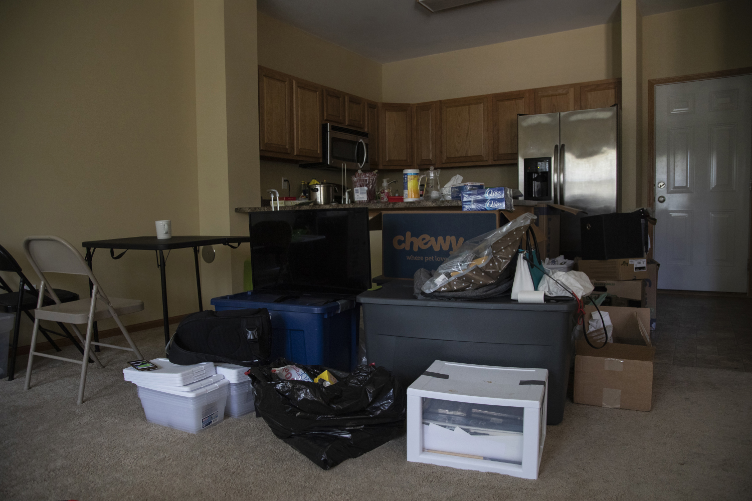 Boxes are seen at students' house in Coralville on July 29.