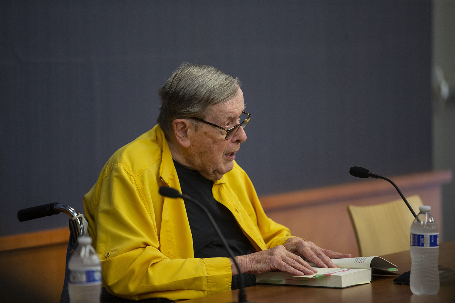 Former President of the University of Iowa Sandy Boyd reads from his memoir at the Iowa City Public Library on July 28, 2019. Boyd memoir is titled A Life on the Middle West's Never-Ending Frontier. (Katie Goodale/The Daily Iowan)