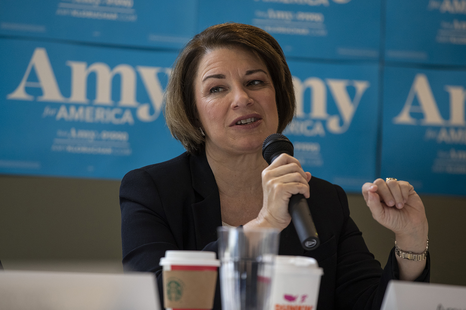 Sen. Amy Klobuchar, D-MN, addresses supporters at her affordable housing roundtable at Cross Park Place in Iowa City on July 26, 2019. (Katie Goodale/The Daily Iowan)