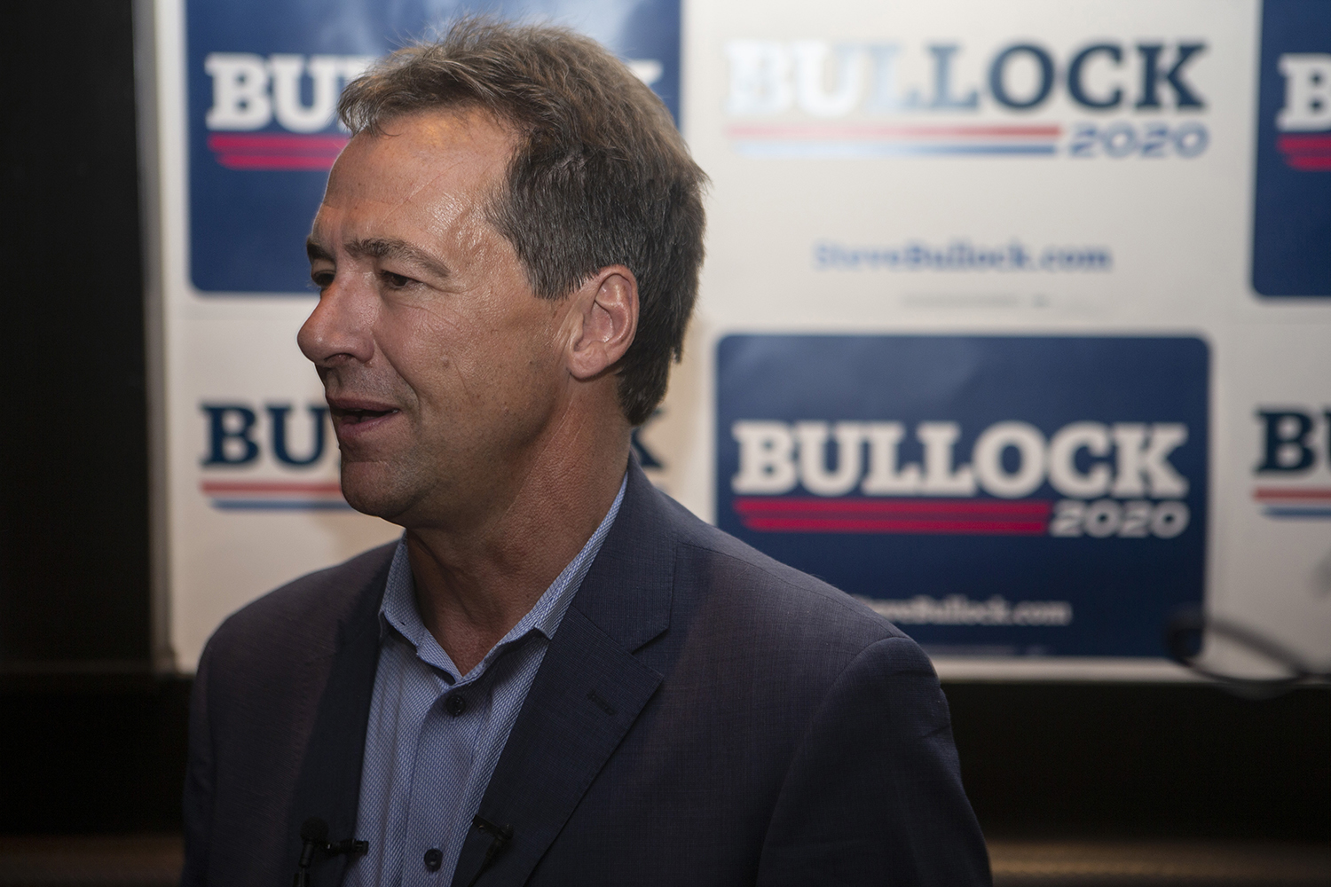 Governor of Montana Steve Bullock addresses members of the press during his meet and greet in Blackstone on July 10, 2019. (Katie Goodale/The Daily Iowan)