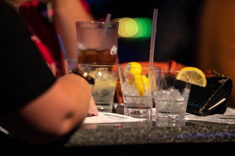 Empty drinks at the Sen. Kamala Harris, D-N.Y watch party in Studio 13 on July 31, 2019.