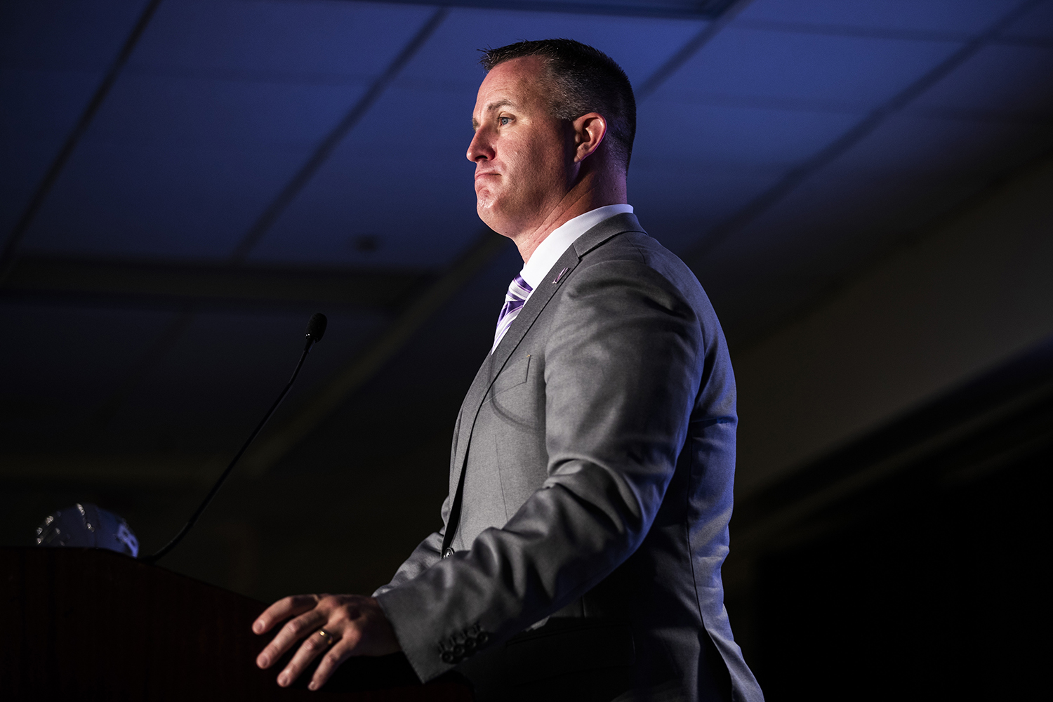 Northwestern head coach Pat Fitzgerald speaks during the second day of Big Ten Football Media Days in Chicago, Ill., on Friday, July 19, 2019.