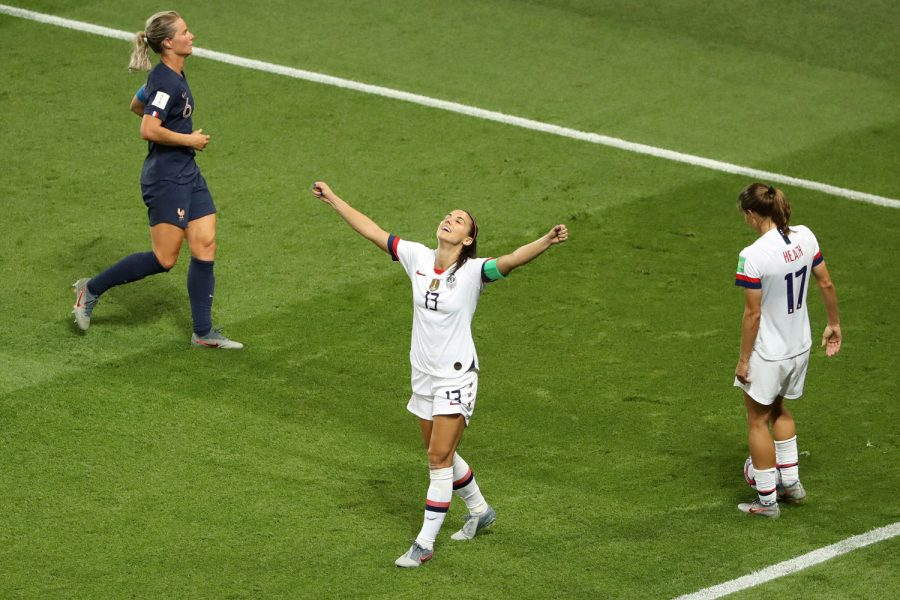 Alex+Morgan+of+the+USA+celebrates+following+victory+in+the+2019+FIFA+Women%26apos%3Bs+World+Cup+France+Quarterfinal+match+between+France+and+USA+at+Parc+des+Princes+on+June+28%2C+2019+in+Paris%2C+France.+%28Robert+Cianflone%2FGetty+Images%2FTNS%29