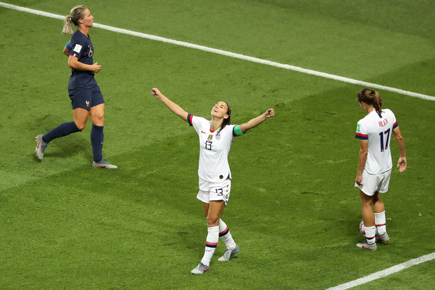 Alex Morgan of the USA celebrates following victory in the 2019 FIFA Women's World Cup France Quarterfinal match between France and USA at Parc des Princes on June 28, 2019 in Paris, France. (Robert Cianflone/Getty Images/TNS)