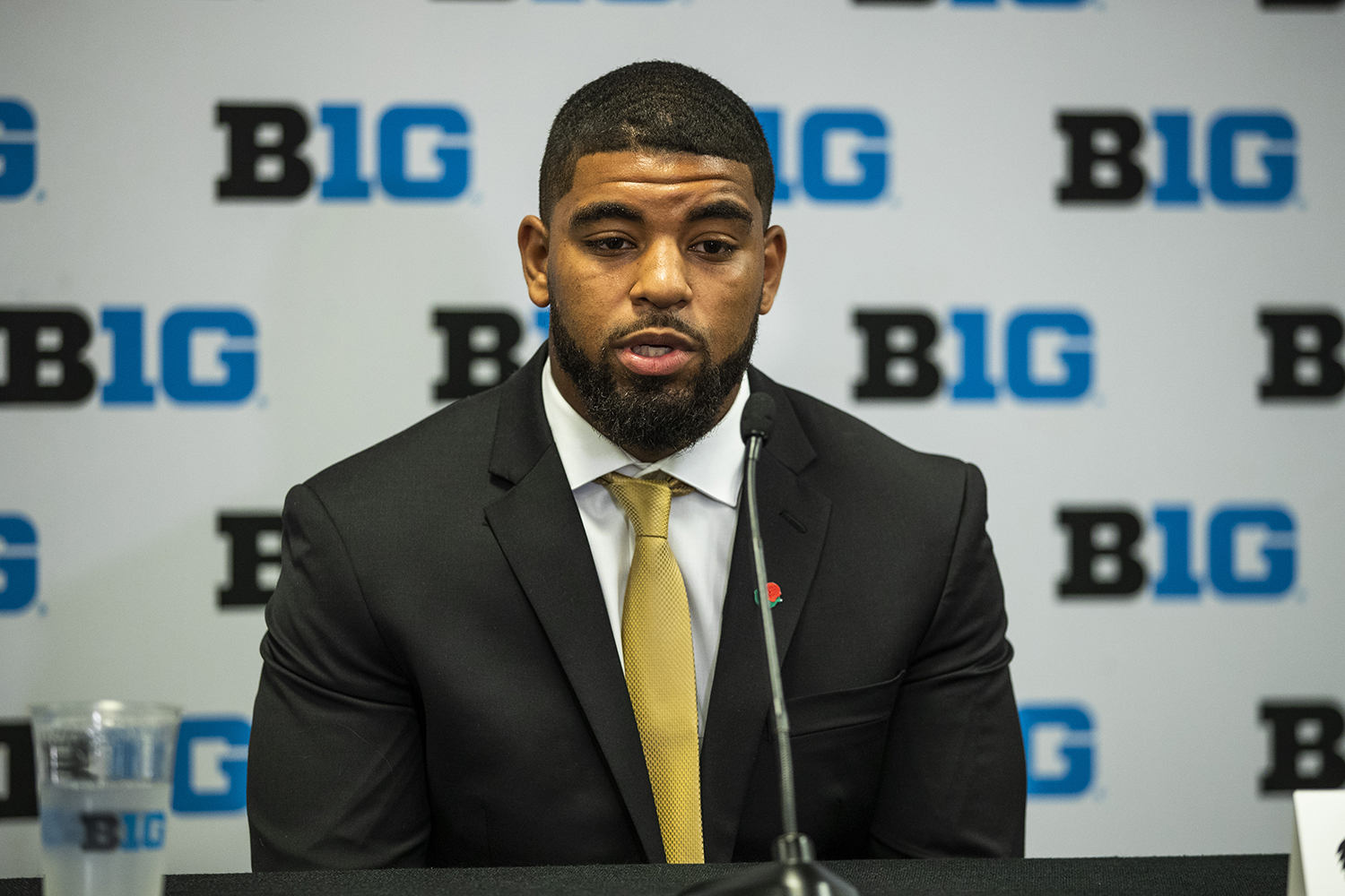Iowa running back Toren Young speaks to the media during the second day of Big Ten Football Media Days in Chicago, Ill., on Friday, July 19, 2019.