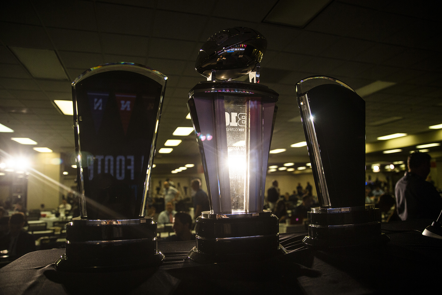The Big Ten trophies are seen at the Big Ten Football Media Day in Chicago, Ill., on Thursday, July 18, 2019.