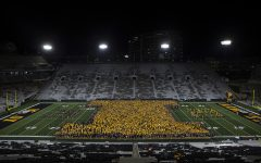 Students form a block I at Kickoff at Kinnick on Friday, August 23, 2019. Kickoff at Kinnick is a University of Iowa tradition where Freshmen and transfer students form an I on the field.
