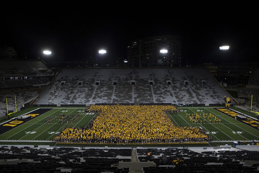 Students+form+a+block+I+at+Kickoff+at+Kinnick+on+Friday%2C+August+23%2C+2019.+Kickoff+at+Kinnick+is+a+University+of+Iowa+tradition+where+Freshmen+and+transfer+students+form+an+I+on+the+field.++